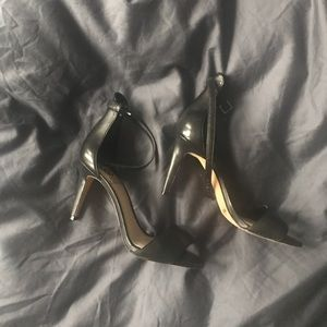Vince Camuto Ankle Strap Black Leather Heels